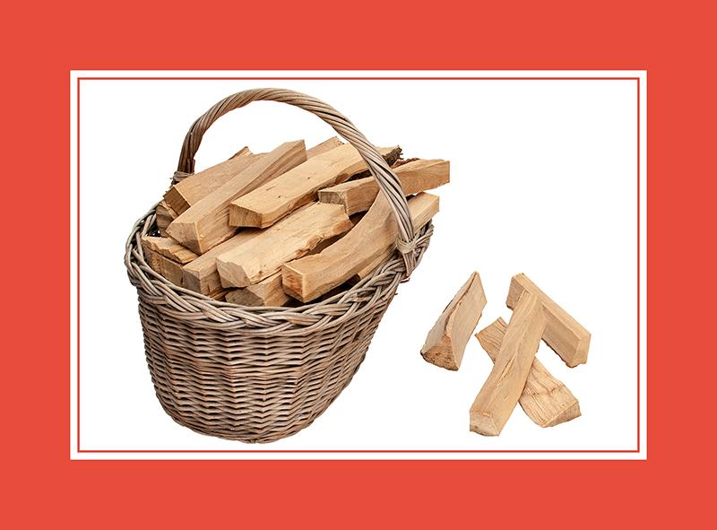 Saunazubehör Korb mit Brennholz