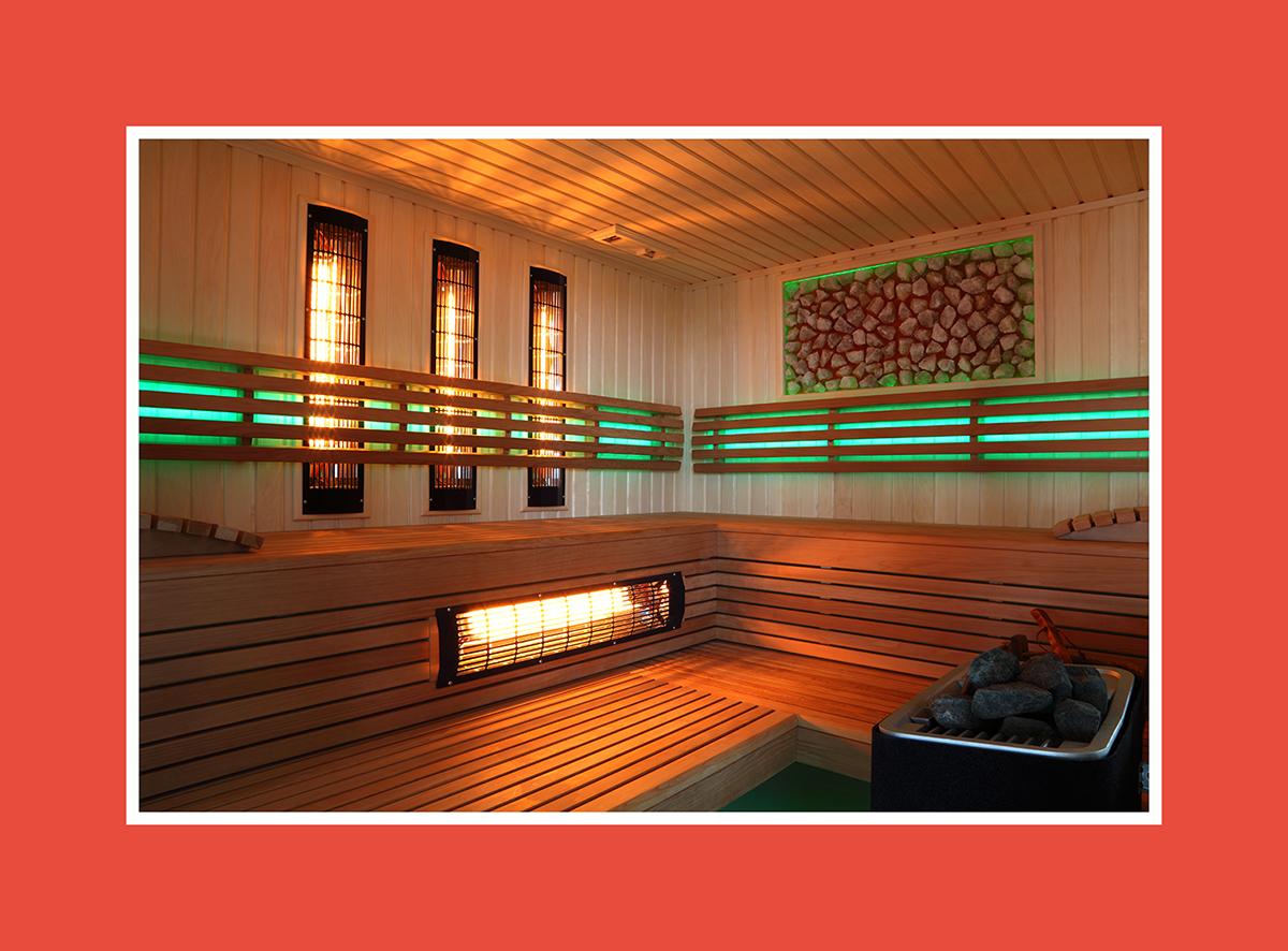 Saunabeleuchtung mit hellgrünen Motiven