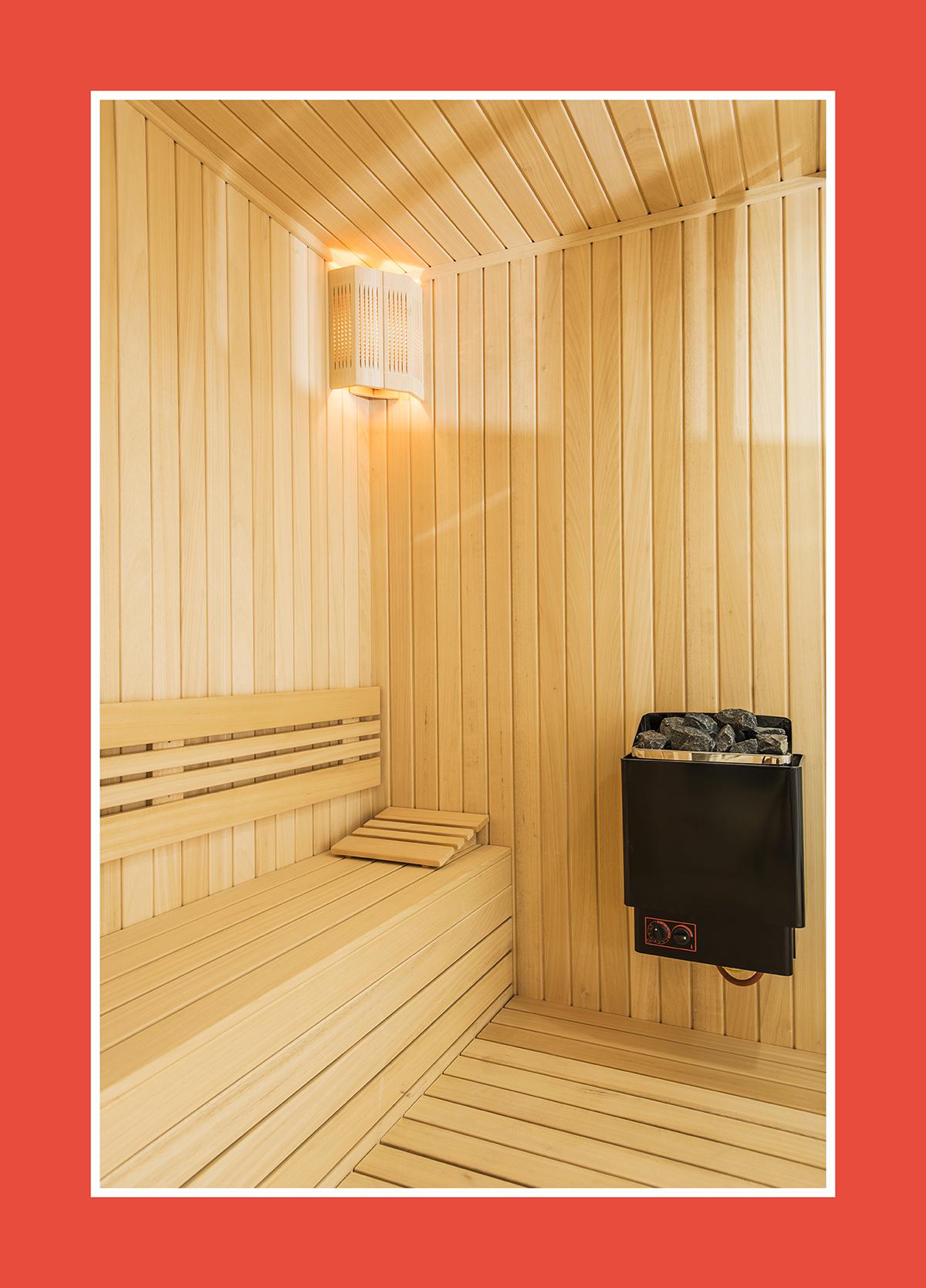 Mini-Saunaofen an der Wand